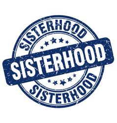 Sisterhood blue grunge stamp vector