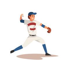 Smiling baseball player throwing ball softball vector