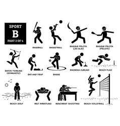 Sport games alphabet b icons pictograph baseball vector