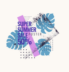 super summer sale abstract background with palm vector image