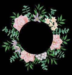 template with round frame and pink flowers vector image