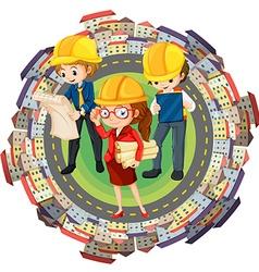 Three engineers and constructions around world vector