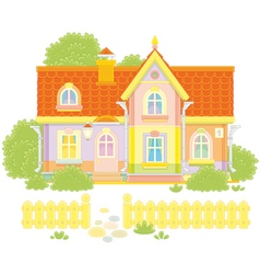 Toy village house vector