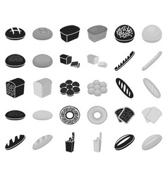 types of bread blackmonochrome icons in set vector image