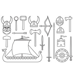 viking thin line icons collection vector image