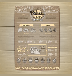 vintage bakery menu design on cardboard vector image