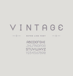 vintage line font typeface with uppercase symbols vector image