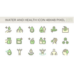 water drinking and health icon set design 48x48 vector image