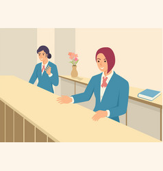 women in front office with uniform vector image