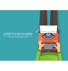 Workplace with typewriter Flat designWriting a vector