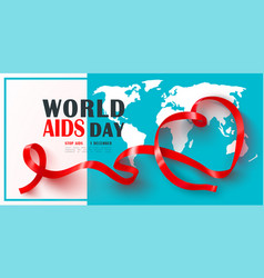 world aids day banner with red ribbonstop aids vector image