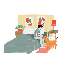 young man dressed in pyjamas waking up in bedroom vector image