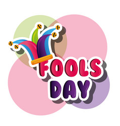 fools day card with jester hat colorful decoration vector image