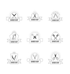 hairdresser logo set with vintage scissors hair vector image vector image