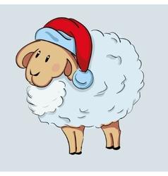 Cute sheep in Santas hat vector image vector image