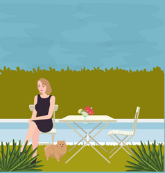 girl sitting alone with the dog on side of vector image