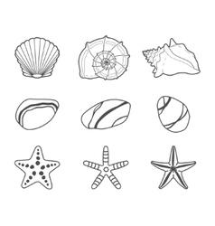 Sea shells stars and stones icon set vector image vector image