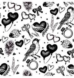 vintage wedding sketch seamless pattern vector image