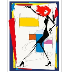 fashion girl cubism vector image