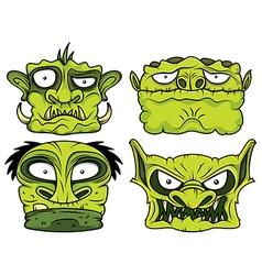 halloween green scary zombie head vector image