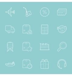 Logistics thin lines icons set vector image