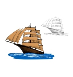 Sailing ship among blue ocean waves vector image