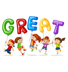 children holding balloons with word great vector image