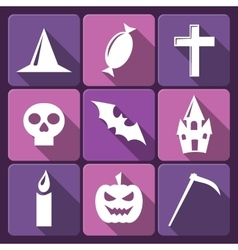 Halloween flat icons with long shadow Set vector image