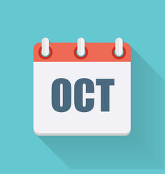 October Dates Flat Icon with Long Shadow vector image