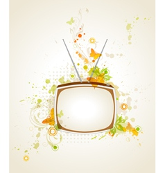 retro tv and floral vector image vector image