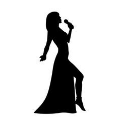silhouette girl singing with a microphone vector image vector image