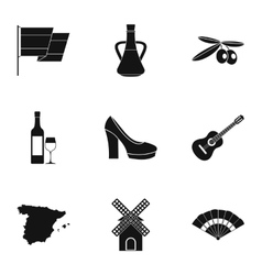 Tourism in Spain icons set simple style vector image