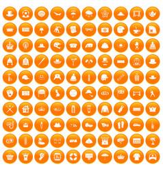 100 hat icons set orange vector