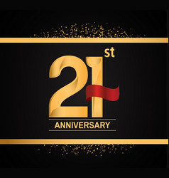 21 years anniversary logotype with premium gold vector