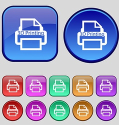 3D Print sign icon 3d-Printing symbol Set of vector