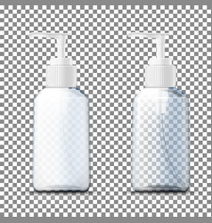 3d realistic transparent plastic bottles vector