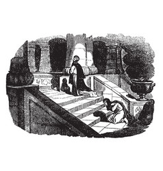 a pharisee and a publican praying on the steps of vector image