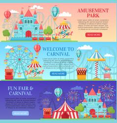 Amusement park banner amusing festival vector