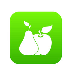 apple and pear icon digital green vector image