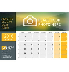 August 2016 Desk Calendar for 2016 Year Design vector