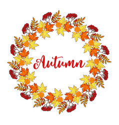 autumn hand drawn wreath with fall leaves vector image
