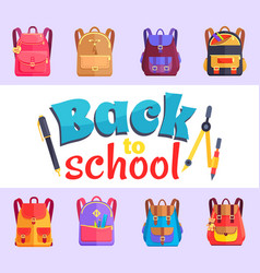 back to my school cartoon style sticker with bags vector image