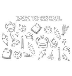 back to school set coloring book page template vector image