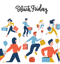 black friday square banner flat cute people on vector image