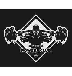 Bodybuilder with a barbell emblem vector