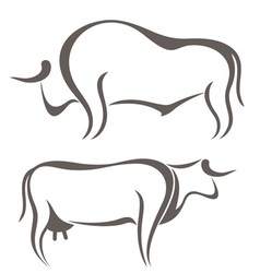 Bull cow farm animal vector