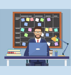 business man working at desk vector image