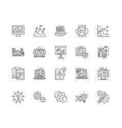 business systems line icons signs set vector image