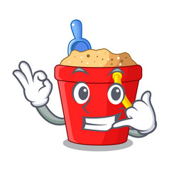 Call me beach bucket in string shape mascot vector