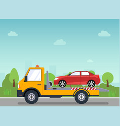 car tow truck accident roadside assistance crash vector image